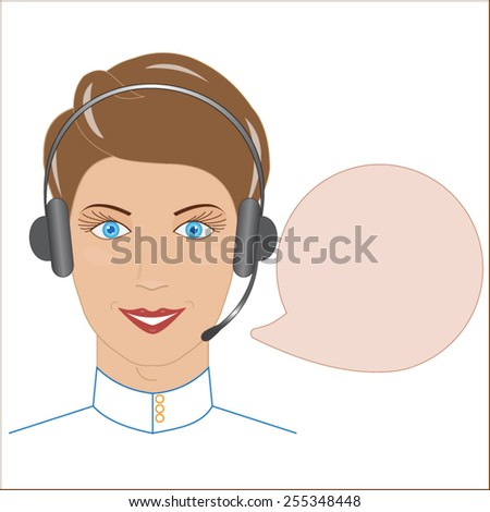 Customer service operator with headset and speech bubbles.