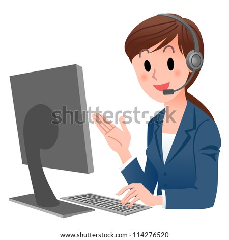 Customer service representative  at computer in headset. isolated on white. Cartoon phone operator. Cartoon Phone Operator. Support center. Customer support. - stock vector