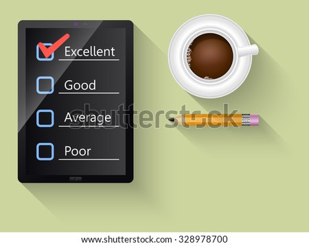 Customer service satisfaction survey on a digital tablet  - stock vector