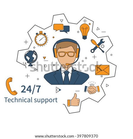 Customer service, technical support, call center. Vector illustration, flat design. - stock vector