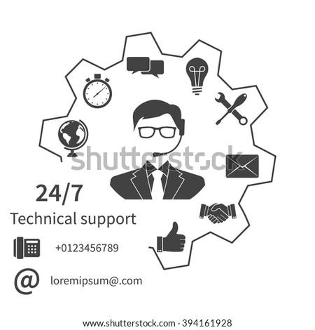 Customer service, technical support, customer support, technical service, call center. Vector illustration, flat design. - stock vector