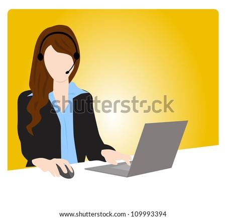 customer service woman communication - stock vector