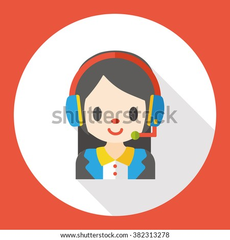 Customer Service Woman flat icon - stock vector