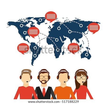 Customer service workers headset world map stock vector 517188229 customer service workers with headset and world map with speech bubble export and import colorful gumiabroncs Gallery