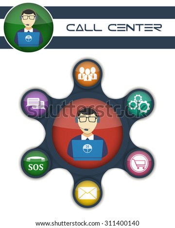 Customer support and counseling clients around the clock. Illustration included icons: solutions, options, shopping, mailing, regular payments, security & immediate support.  - stock vector
