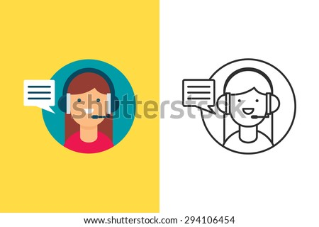 Customer support flat and line style vector icon - stock vector
