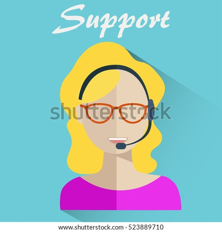 Customer support help desk woman operator service.