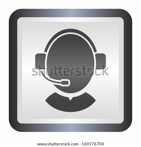 Customer support operator with headset (elegance silver button, black version) - stock vector