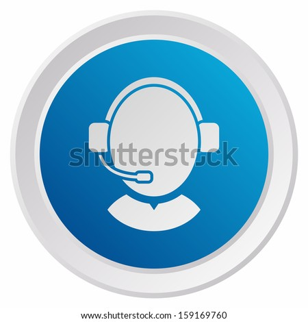 Customer support operator with headset (GRX btn metallic, blue version) - stock vector
