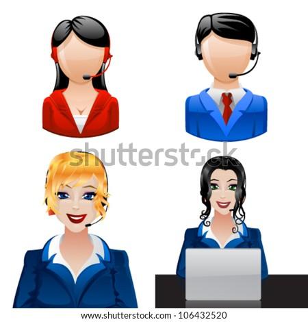 Customer support phone operators. Vector - stock vector