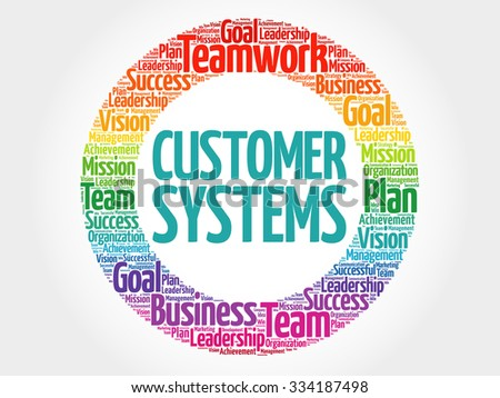 Customer Systems circle stamp word cloud, business concept - stock vector