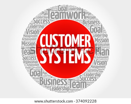 Customer Systems circle word cloud, business concept - stock vector
