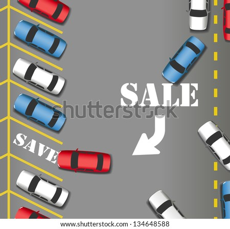 Customers cars rush in to busy Sale Parking at store lot to save money - stock vector