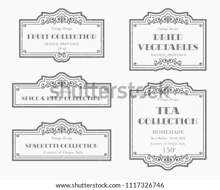 customizable black white pantry label collection stock vector
