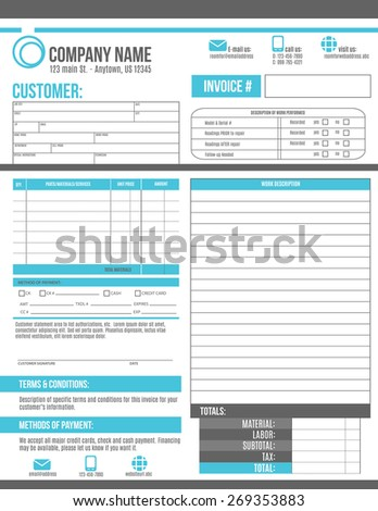 Customizable Invoice Template Design Room Work Stock Vector - Customizable invoice