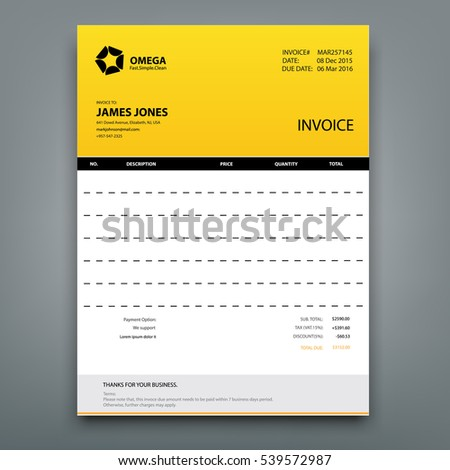 Customizable Invoice Template Layout Design. Vector Illustration  Mock Invoice Template