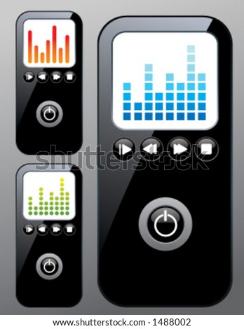 customizable mp3 player - stock vector