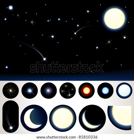 Customizable Night Sky, Collection of Stars, Moons and other Night Elements to create your own night sky