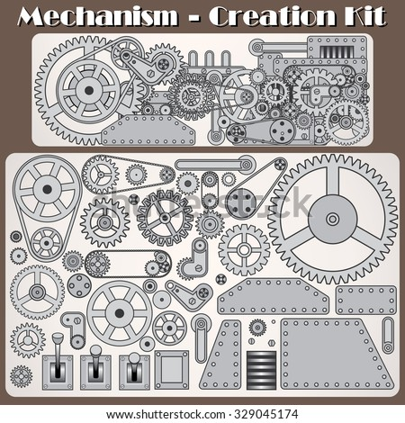 Customizable Retro Mechanism. Collection of Gears, Cogwheels and Machine Parts. Vector Creation Kit - stock vector