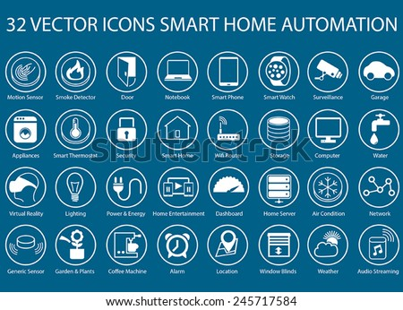 Customizable vector icons for infographics regarding smart home automation like smart thermostats, smart sensors, smart watch, gadgets, storage, servers, home automation, location services, appliances - stock vector