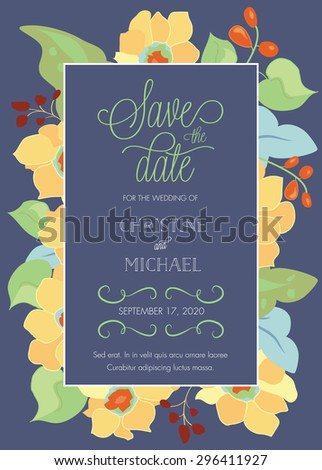 Customizable Wedding Save The Date Template with Abstract Colorful Flowers â?? Vector