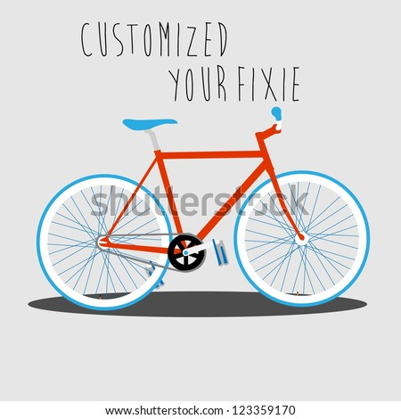 Customized Your Fixie 2 - stock vector