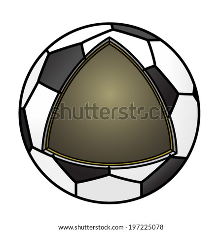 Cut-away diagram showing the construction of a soccer ball.