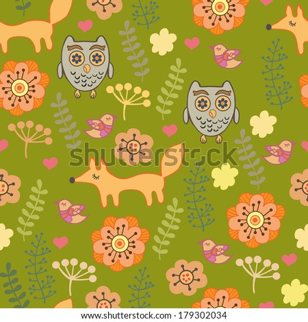 Cut children's pattern with owls and foxes. Seamless pattern for fabric, paper and other printing and web projects.