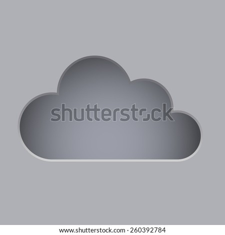 Cut cloud shape grey vector background with copy space. - stock vector