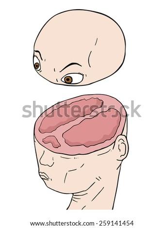 Cut head vector design - stock vector