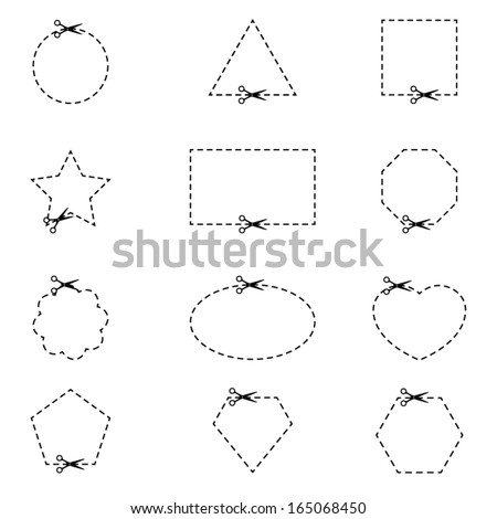 Cut here icons - stock vector