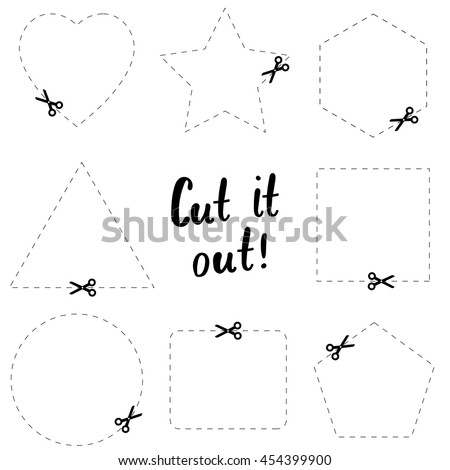 Cut it out flat template. The scissors icon. Cut here symbol. Scissors and dotted line. Flat Vector illustration. - stock vector