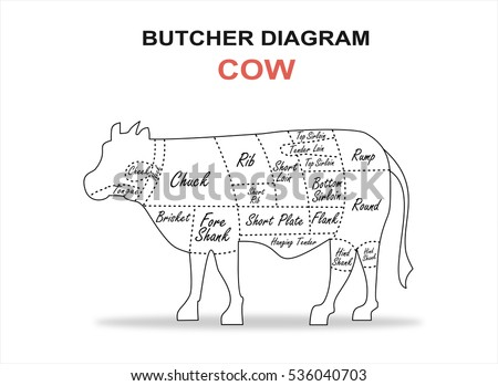 Cut beef set poster butcher diagram stock vector 536040703 cut of beef set poster butcher diagram cow ccuart Gallery