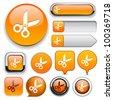 Cut orange design elements for website or app. Vector eps10. - stock vector
