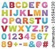 cut out alphabet shapes with letters, numbers and punctuation, isolated on white - stock vector