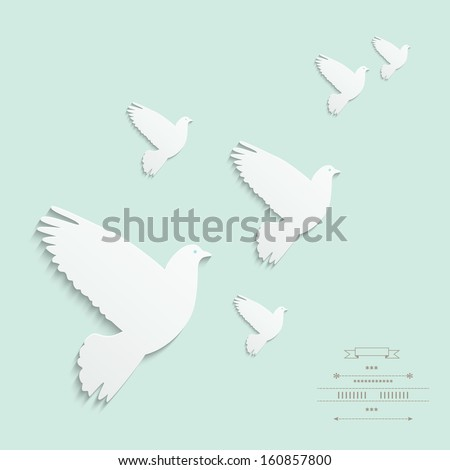 Cut out dove. Gentle illustration in vector on white background