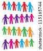 Cut out human with different colors on white background. Vector illustration. - stock photo