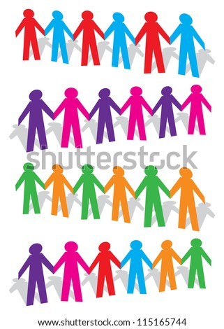 Cut out human with different colors on white background. Vector illustration. - stock vector