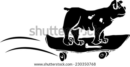 Cut-out illustration depicting a skateboarded bulldog - stock vector