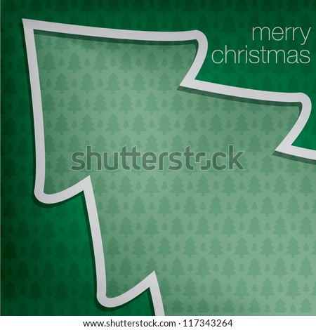"""Cut out """"Merry Christmas"""" tree card in vector format. - stock vector"""