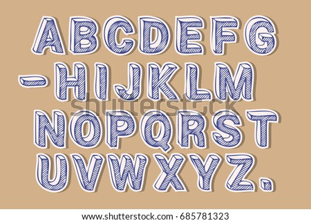 Line Art Letters : Cut out paper letters craft font stock photo vector