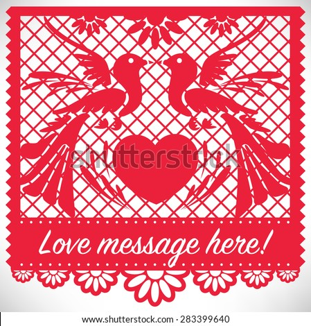 Cut Out Paper - Love Birds - stock vector