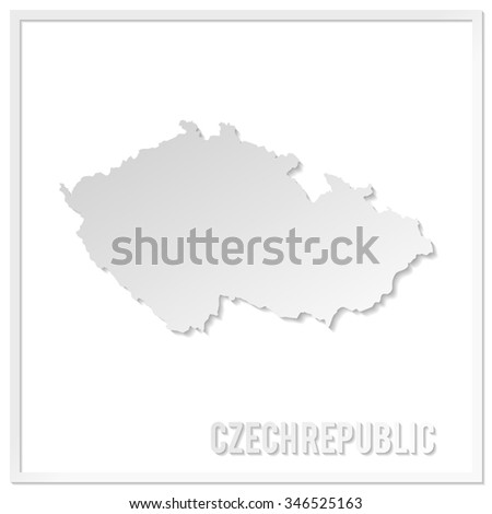 Cut out paper vector map of Czech Republic. Paper cut style country map. 3d vector map illustration with smooth vector shadows and white map.