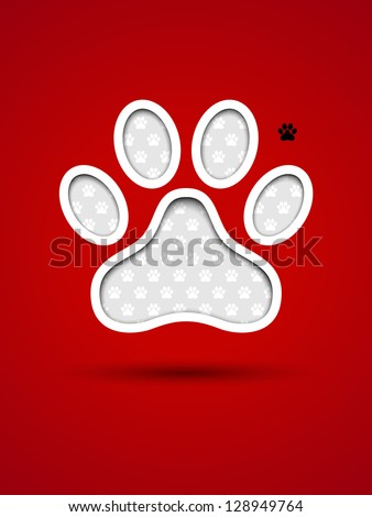 Cut out red card with animal footprint - stock vector