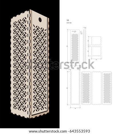 cut out template wine gift slider stock vector 643553593. Black Bedroom Furniture Sets. Home Design Ideas