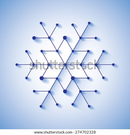 Cut-paper christmas snowflake. Background with simply low poly winter theme - stock vector