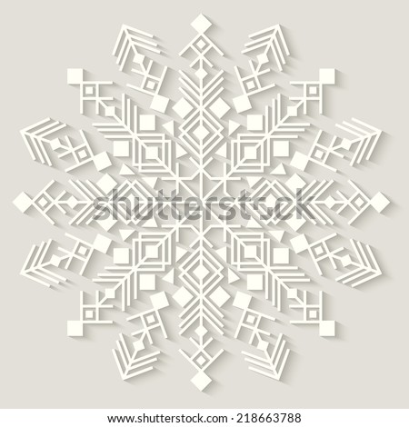 Cut-paper snowflake. Background for winter and christmas theme. Vector illustration. EPS10.  - stock vector