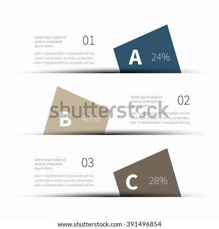 cut paper with shadow and options, summary view / infographics 3 floor template - stock vector