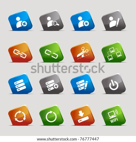 Cut Squares - classic web icons - stock vector