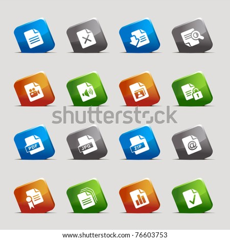 Cut Squares - File format icons - stock vector